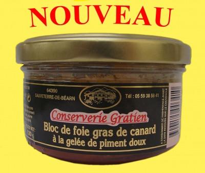 Bloc de foie gras de canard à la gelée de piment 120g