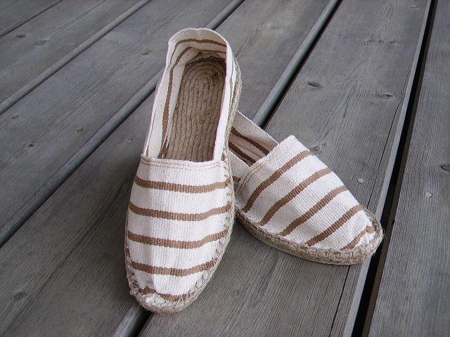 Espadrilles rayées blanc cassé et beige taille 38