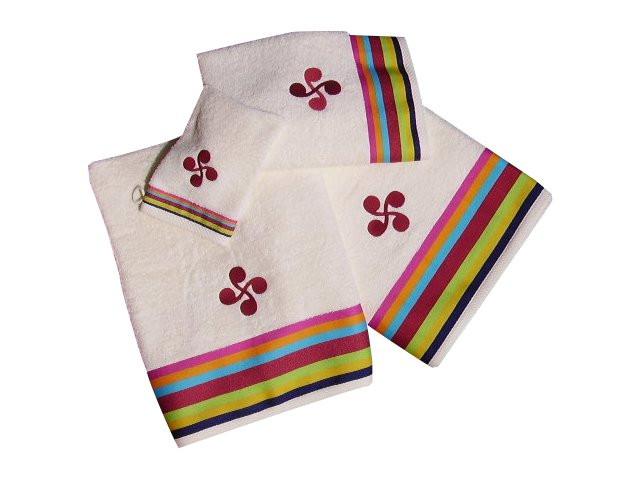 Gant et serviette de toilette aux couleurs basques