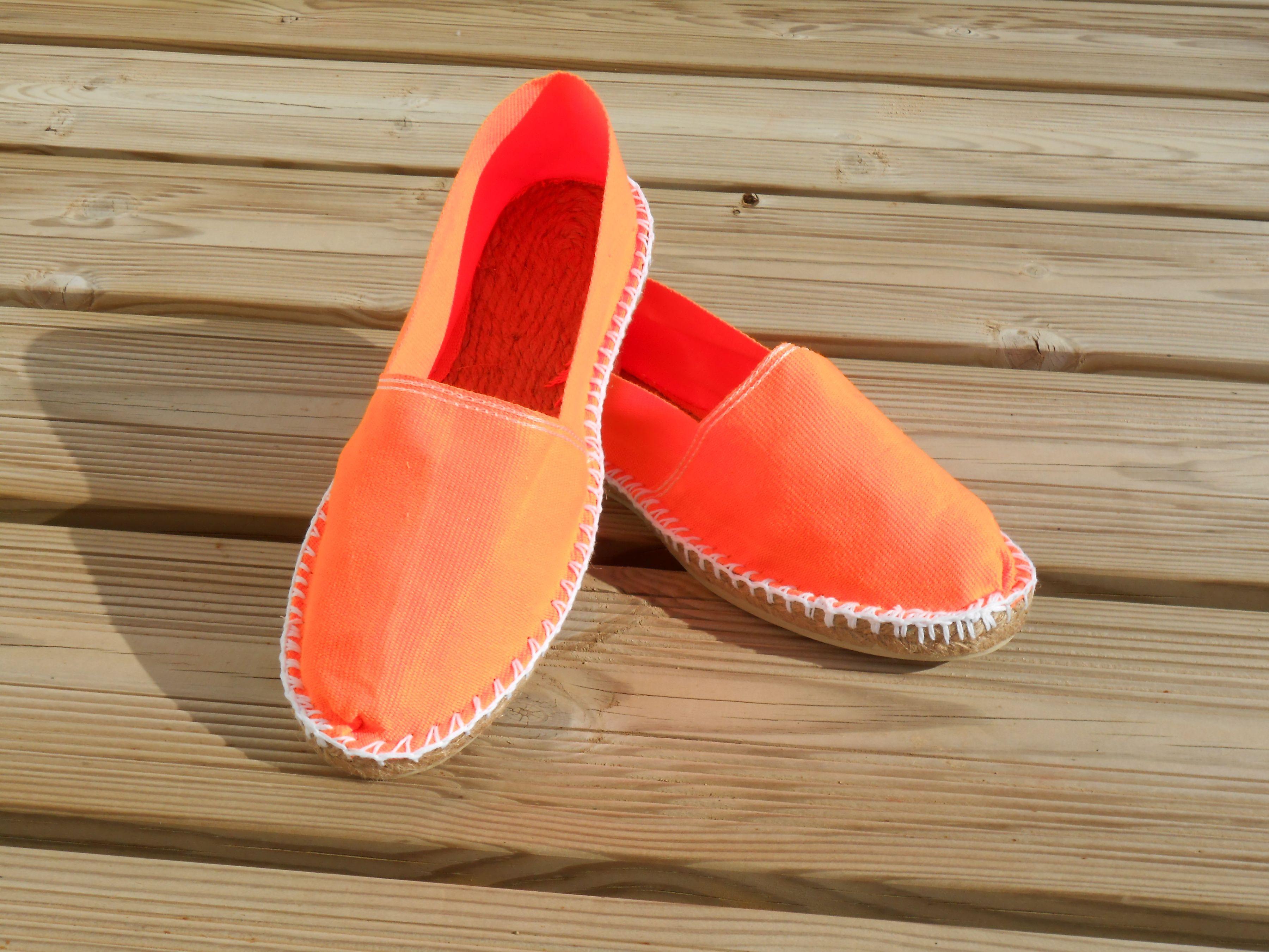 Espadrilles basques orange fluo taille 38