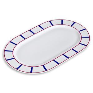 Plat ovale décor basque en porcelaine