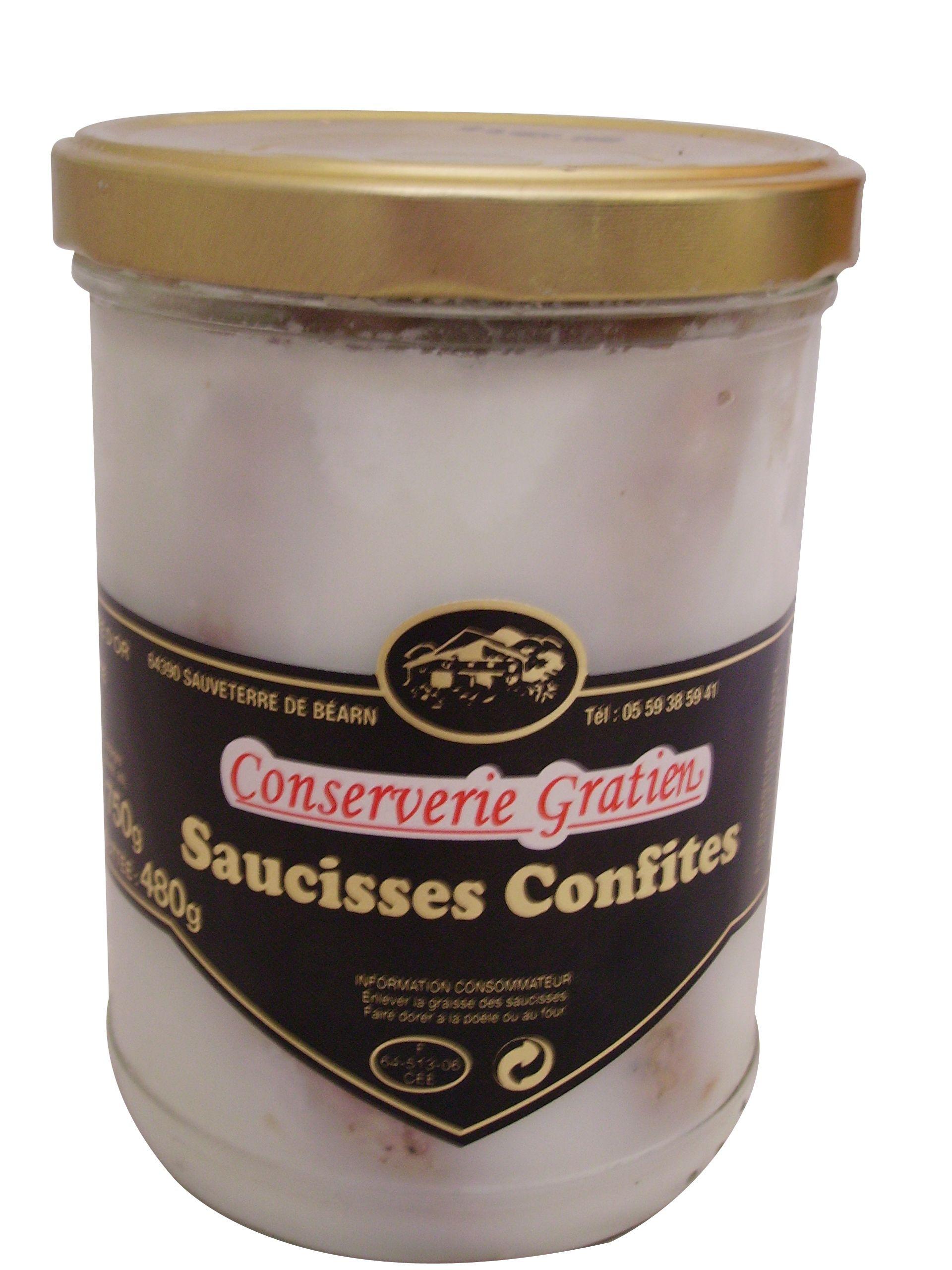 Saucisses confites pur porc