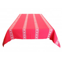 Nappe traditionnelle croix basque rouge rectangle 170 x 300 cm