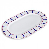 Plat ovale décor basque en porcelaine