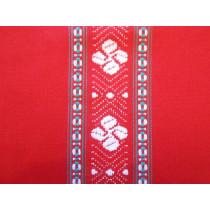 Nappe traditionnelle croix basque rouge ronde 170 cm