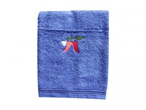 Serviette de toilette bleue avec un piment brodé