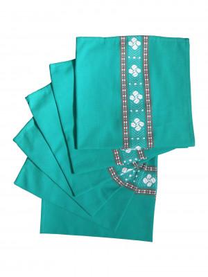 Six serviettes de table verte