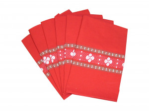 Six serviettes de table rouge